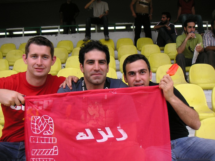 With my Iranian friends at a Persepolis match (Tehran, Iran)