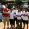 With the SOS (Spirit of Soccer) coaches in northwestern Cambodia.  Feeling a little tall.